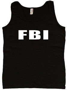 Ladies tank top FBI design costume uniform vest womens tee tshirt