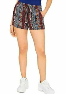NEW Be Bop Women's Juniors' Printed Drawstring Soft Pull On Shorts Size Large