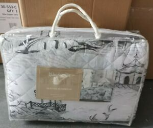 Kaleidoscope Chinoiserie Grey Quilted Bedspread 220x240cm - BNIP