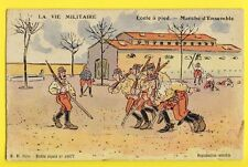 CPA Illustration SERVICE MILITAIRE French military Humour ECOLE à PIED LIMOGES
