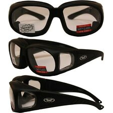 MOTORCYCLE NIGHT SUNGLASSES FITS OVER RX GLASSES CLEAR PADDED