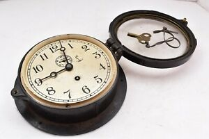 "Vintage Chelsea WW2 Deck clock US Navy Ship's clock Bakelite Case W Key WORKS 6"""