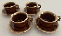 Vintage Set Of 4 Coffee Cups & Saucers Crestone Oven Proof Hull USA Glazed VGUC