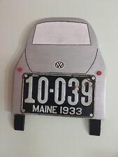 vintage vw 15.5 x 14 wooden plaque 1933 Maine license plate original piece