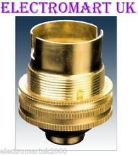 "BRASS LAMP LIGHT BULB HOLDER BC BAYONET CAP 1/2"" SCREW THREAD"