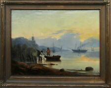 Illegibly Signed Figures on Beach at Sunset Large OLD Antique Oil Painting NR