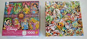 Lot Of 2 Disney 1000 Piece Puzzle Princess Collage & Vintage Disney Buttons