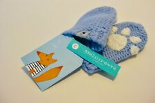 BNWT Joules Baby Blue Knitted & Hand Stitched Mittens Paw Print Detail 6-12 mths