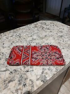 VERA BRADLEY QUILTED CLOTH Sunglasses Case Red/Black/White Paisley Print NWOT