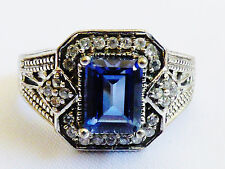 Karis Collection Silver Plated Ring Emerald Cut blue stone Size 7.5