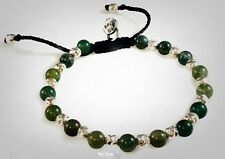 Agate Stones Hammered Beads Solid Sterling Silver 925 Bracelet by Ezi Zino
