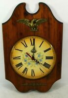 Verichron Quartz Wall Clock Eagle Wood Glass Vintage Colonial Style USA Made