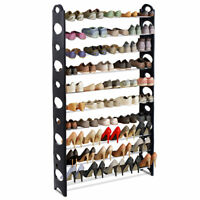 Adjustable 50 Pair 10 Tier Shoe Rack Organizer Black Tower Space Saving Storage