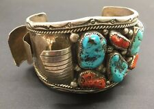 Large Navajo Silver Turquoise Red Coral Watch Cuff Bracelet - SIGNED