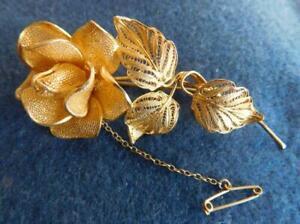 Superb Ultra Fine 900 Silver Gilt Filigree 'Rose' Flower Brooch 1930s