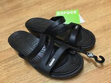 NWT Crocs PATRICIA Women 6 Black Sandals Wedge Authentic Relaxed Fit Cleo