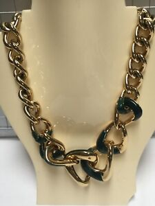 "Michael Kors Dark Green Enamel Gold Plated Chain Necklace 17"" Macy's New MK17"