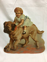 "Vintage Die Cut Scrapbook Piece Dog & Little Girl 8 1/8"" X 8 7/8"" Colorful Art"
