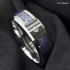 8Mm CZ Silver Celtic Dragon Tungsten Carbide Ring Wedding Band ATOP Men Jewelry