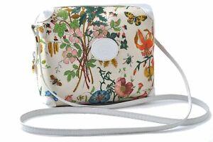 Auth GUCCI Flora Shoulder Cross Body Bag Canvas Leather White Multicolor D2560