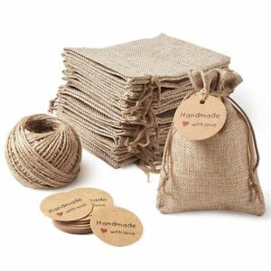 Packing Pouches Bags Drawstring Paper Tags Hemp Cord Twine String Jewelry Making