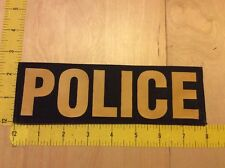 """Police Patch - 2.5"""" X 8"""" On Hook Backing, Yellow On Black (item 1043)"""