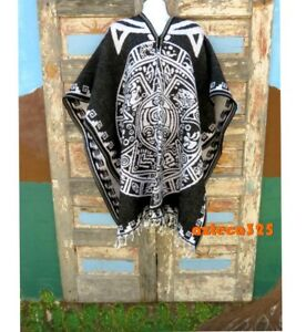 Mexican Poncho Aztec Calendar Reversible Black/White Gaban Calendario Azteca