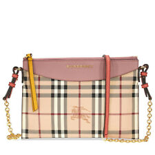 Burberry Haymarket Check and Two Tone Leather Clutch - Dusty Pink / Multi