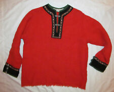 vintage 60's Rolf Drangsgaard red wool embroidered ethnic pullover top Norway L