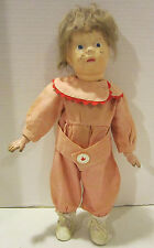 "Vintage 14"" Schoenhut jointed wooden doll, painted features - mohair wig"
