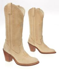 ACME Cowboy Boots 6 M Womens Buckskin Tan Leather Tall Western Rodeo Boots USA