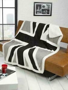 Rapport Luxury Union Jack UK Flag Cozy Fleece Sherpa Fur Blanket Throw Black