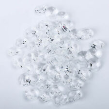 200 PCS Clear Crystal Glass Chandelier Part Prisms Octagonal Beads Decor 14MM