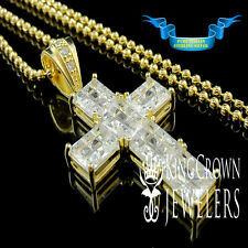 REAL SILVER PRINCESS CUT LAB DIAMOND HOLY CROSS CHARM PENDANT CHAIN NECKLACE SET