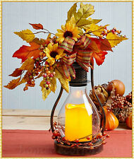 Lighted LED Fall Candle Lantern Autumn Harvest Thanksgiving Centerpiece Tabletop