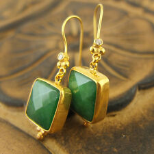 Handmade Ancient Square Emerald Earrings W/Topaz Gold Over Sterling Silver