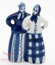 Gzhel Russian Handpainted Porcelain Folk Figurine peasant women girls talking