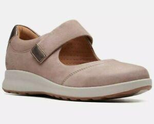 """Clarks Women Unstructured """"Un Adorn Strap"""" Pebble Nubuck Shoes UK Size 4E"""