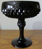Tiara Indiana Glass Black Cameo Diamond Point Footed Candy Dish Bowl Compote