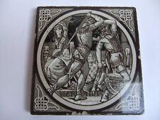ANTIQUE MINTON TILE JOHN MOYR SMITH c1876 GERAINT. IDYLLS OF THE KING Series