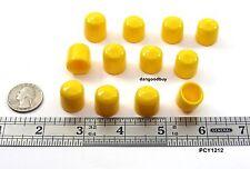 "50 Yellow Push-On Pliable Vinyl Caps Plastic tips End Caps 1/2"" Diam x 1/2"" Ht"