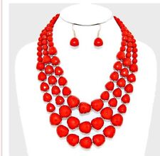 Chunky Red Pearl Long Bib Multi Layered Strand Bead Necklace Set