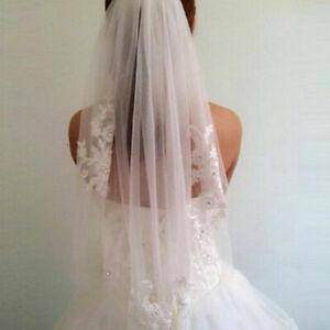 RULTA Short 1T White Ivory Lace Applique Crystal Bridal Wedding Veils +Comb J1