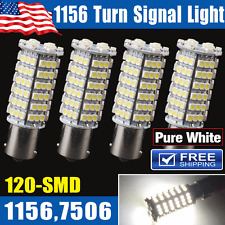 4x Pure White 1156 BA15S 120-SMD LED Tail Brake Stop Backup Reverse Light Bulbs
