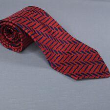 Vintage Neimann Marcus Wide Necktie Red Blue Silk 56 Long 4 Wide Switzerland