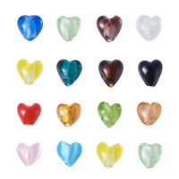 200PCS Heart Shape Lampwork Handmade Glass Beads Silver Foil Mixed Color 15mm