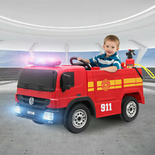 Fire Truck Kids Ride on Car Toy 12V Battery Powered w/ Remote Control, Water Gun