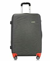 """ATM Wave Collection 26"""". Hardside Luggage Medium Check-in suitcase Gray Orange"""