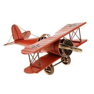 Vintage Biplane Airplane Plane Model Tin Toy Home Office Decor Gift Red
