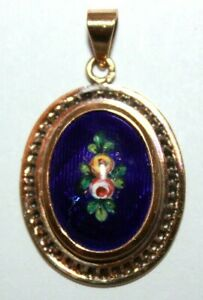 Antique blue glass and flower enamel painted panel 10 ct yellow gold pendant